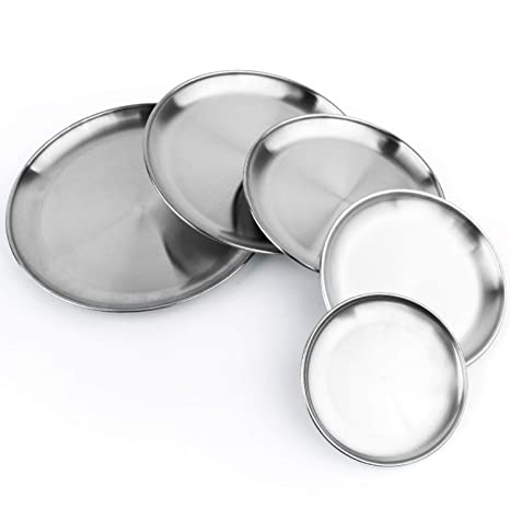 Sports & Entertainment Thick Stainless Steel Plate Fruit Plate Tableware Picnic Dish Plate Simple Barbecue Heat-resistant Tableware Camping & Hiking