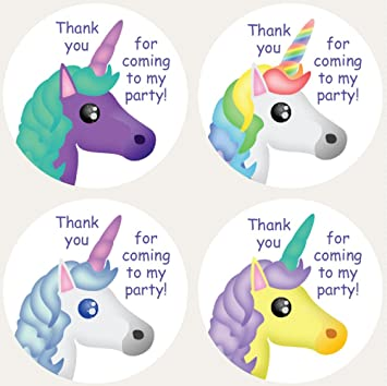 unicorns thank you for coming to my party pack of 30 38mm