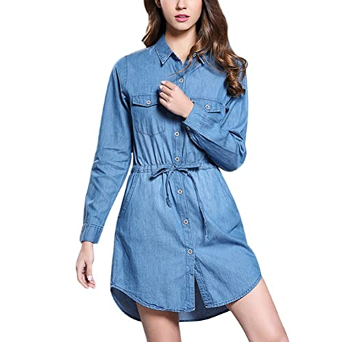Zhhlaixing Camisas casuales Casual Long Sleeves Long Shirts Slim Dress Waist Rope Belt Denim Jean To...