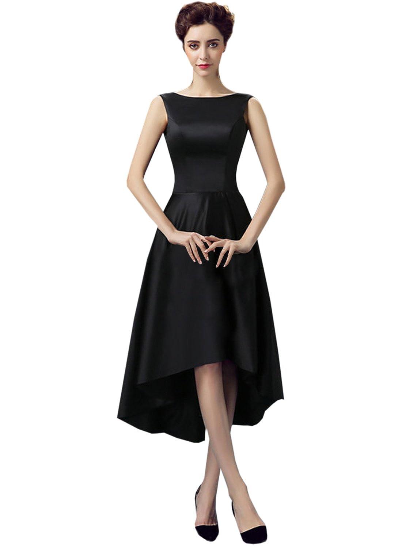 ASVOGUE Women's Retro Round Neck Sleeveless Asymmetric Prom Dress