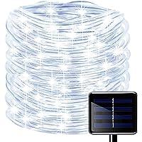 picK-me Luces de Cuerda Solar, Impermeable al Aire Libre 100 LED 33 FT / 10 M, Luces de hadas, Tubo de Luz de PVC para…