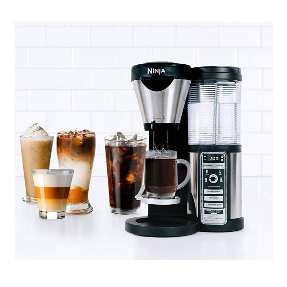 Ninja Coffee Bar with Glass Carafe and Auto-iQ One Touch Intelligence with Permanent Filter Basket - CF081 (Renewed)