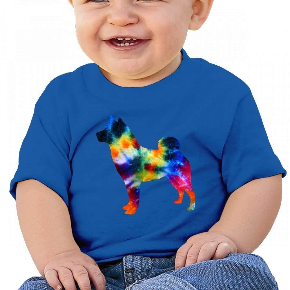 YXQMY Beautiful Tie Dye Shiba Inu Baby Casual Round Neck Tee Shirts Short eeve T