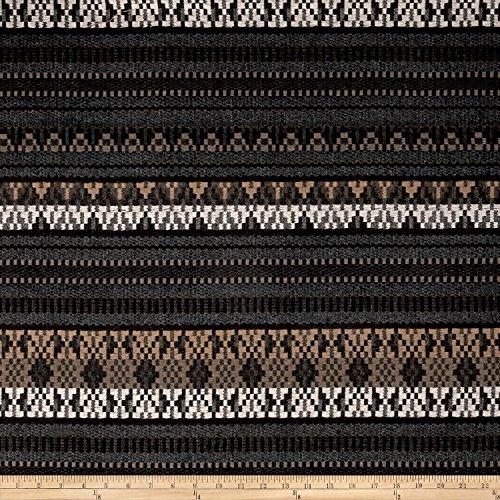 Fabric Italian Metallic Wool Blend Jacquard by The Yard, Beige/Brown/Blue/Silver