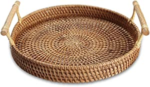 Handmade Rattan Round Woven Basket, Round Serving Tray with Handles, Food Serving Baskets, Basket, Great To Display Bread Or Fruit (11