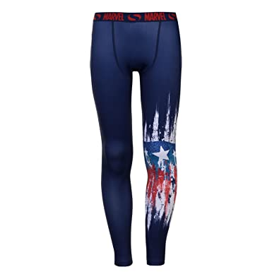 12e1eeacdb56 Junior Boys Stylish Marvel Tight Fit Base Layer Tights (Captain Logo ...