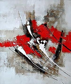 ETA BL Tableau Abstrait Rouge Et Gris 100% Peint à La Main. Peinture