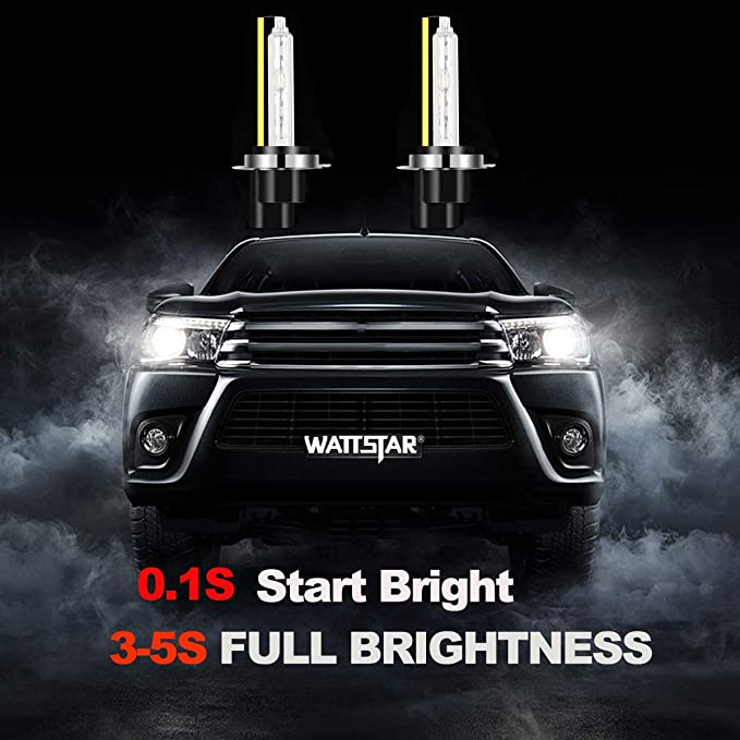 Wattstar H7 HID Headlight Bulbs,42W 5500 LM Bright White HID H7 Xenon Headlights Conversion Kit with Super Canbus,DC 12V,6000k Car Light Restoration Kit,IP67 Waterproof,Pack of 2