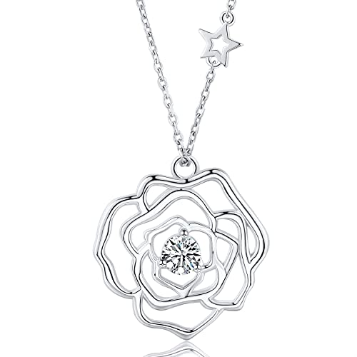 Silver Plated Rose Flower Necklace /& Pendant.Womens 925 Sterling 19 inches 48cm