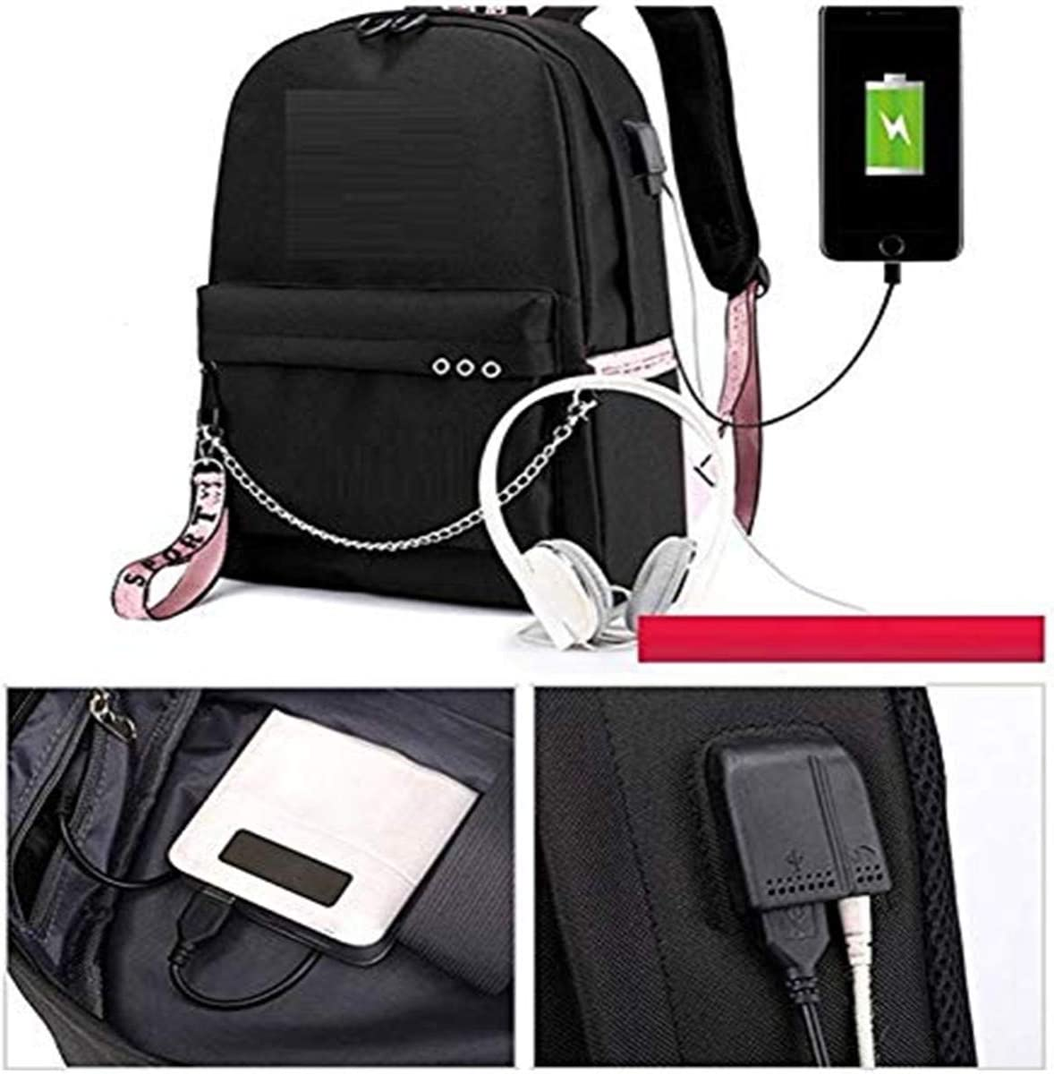 Unisex Korea Pop Korea Pop Backpack Kpop Gift Daypack Laptop Bag College School Bookbag Light Jungkook Jimin suga v bighit Stick with USB Charging Port Jimin Black
