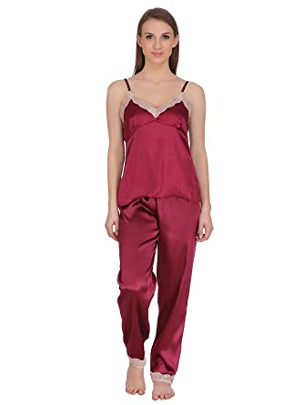 Clovia Women s Satin Spaghetti Top   Pyjama  Amazon.in  Clothing ... 8f2968ffb