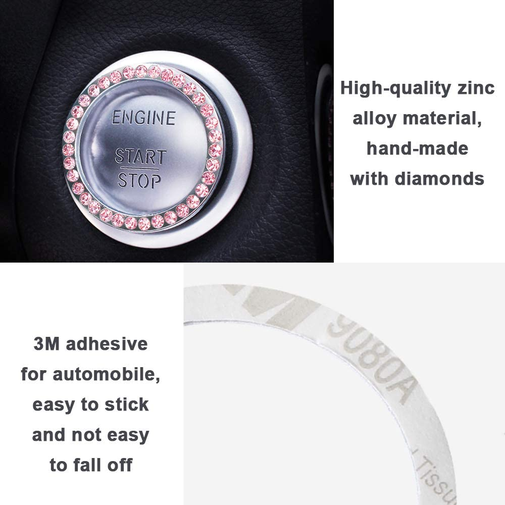 POXIMI Bling Car Accessories for Women Start Button Decoration Crystal Rhinestone Universal Stem Covers for Auto Engine Start Stop Interior Ring Decal for Vehicle Ignition Button Interior Car Decor Accessory BLACK-A