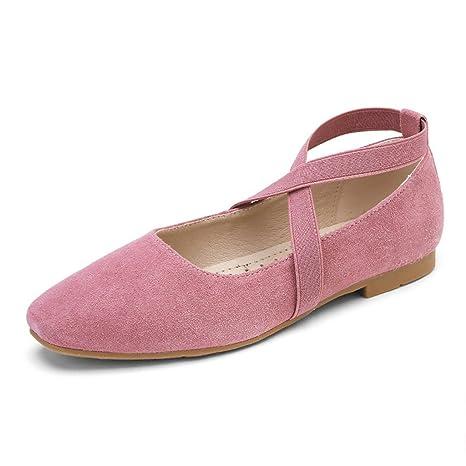HWF Scarpe donna Ballerine primaverili Cinghie incrociate Scarpe da donna  retrò Bocca bassa Scarpe singole donna piatta ( Colore   Rosa  c85d784a0f3