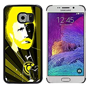 Samsung Galaxy S6 EDGE (NOT S6) - Metal de aluminio y de plástico duro Caja del teléfono - Negro - Funny Chuck N Karate God