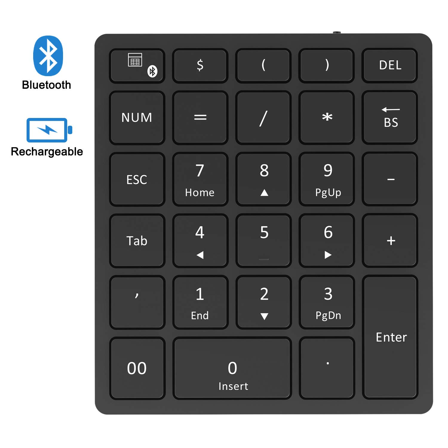 Bluetooth Numeric Keypad, Jelly Comb Rechargeable Portable Wireless Bluetooth 28-Key Number Pad with Multiple Shortcuts for Tablet, Laptop, Notebook, PC, Desktop and More (Black) by Jelly Comb (Image #1)
