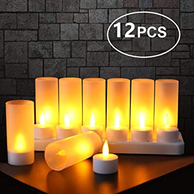 EXPOWER Flameless Candles - 12 Rechargeable LED Flickering Tea Lights + 12 Frosted Cups - Comes With Charging Base, No Battery Needed: Home & Kitchen