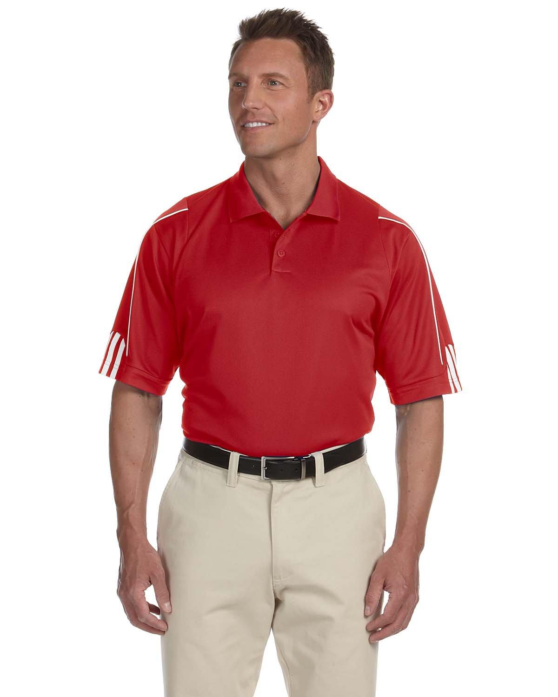 adidas Men's ClimaLite 3 Stripes Cuff Polo Shirt, XXX-Large, BLACK/WHITE A76-P