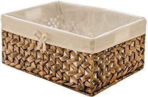 KINGWILLOW Rectangular Woven Seagrass Storage Bin with Handle, (Water Hyacinth, Large)