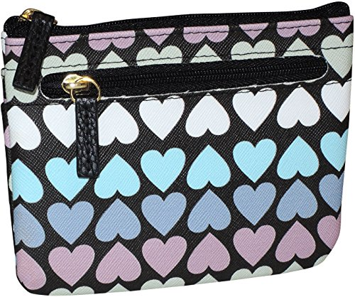 Heart Coin Case (Buxton Hearts & Stripes ID Coin & Card Case One Size Black multi)