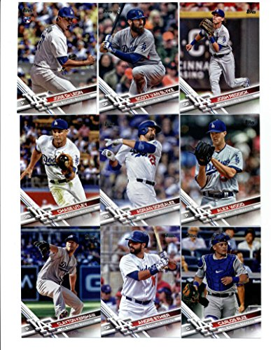 2017 Topps Los Angeles Dodgers Complete Team Set of 39 Cards: Corey Seager(#5), Clayton Kershaw(#50), Andre Ethier(#76), Howie Kendrick(#107), Adrian Gonzalez(#117), Chase Utley(#134), Carlos Ruiz(#142), Alex Wood(#213), Justin Turner(#251), Jose -
