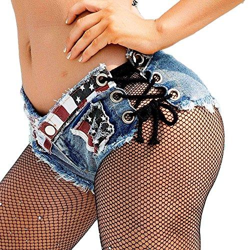 Soojun Women's Low Rise Side Strapss Cheeky Mini Denim Shorts Clubwear, US 0-2, American Flag