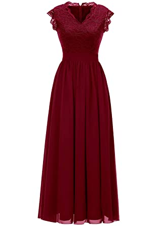 888dffd7f8c Dressystar 0050 Ruffle Sleeve Lace Bridesmaid Dress Wedding Party Gown V  Neck XS Dark Red