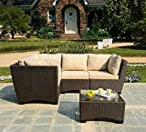 WUnlimited Infinity Collection Outdoor Garden Patio Sectional Furniture 5PC Set All Weather Brown Wicker, Dark Brown & Beige For Sale