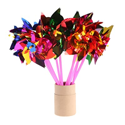 Horoshop 10Pcs Small Windmill Pinwheel Wind Spinner Garden Lawn Party Decor Kids Toy: Garden & Outdoor