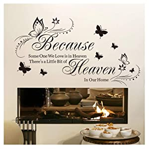 Witkey Because Someone We Love Is in Heaven Quotes Wall Stickers Decal Room Decor DIY