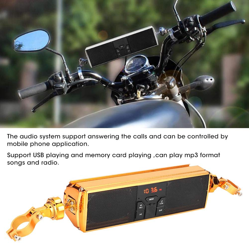 Motorcycle Handle Bar Audio System with Water-Proof LED Stereo Sound Speaker Golden