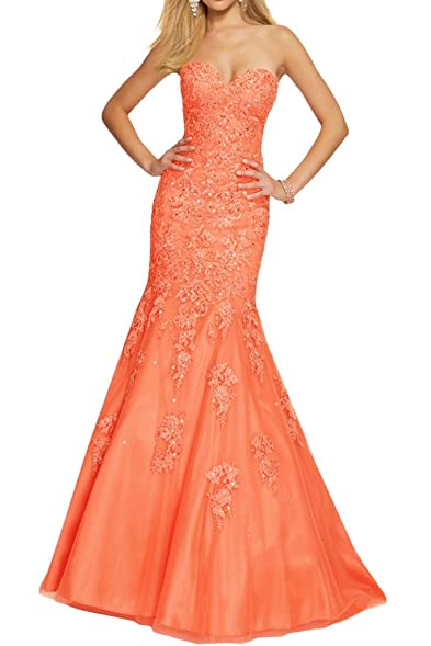 Avril Dress Elegant Sweetheart Evening Prom Gown Mermaid Lace Sweep Party Dress Long-2-
