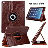 iPad Case, iPad 2 3 4 Case, Newshine 360 Degree Rotating Kickstand Synthetic Leather [Perfit Fit] Smart Case Cover with [Auto Sleep/Wake Function] for Apple iPad 2 3 4 (Brown)