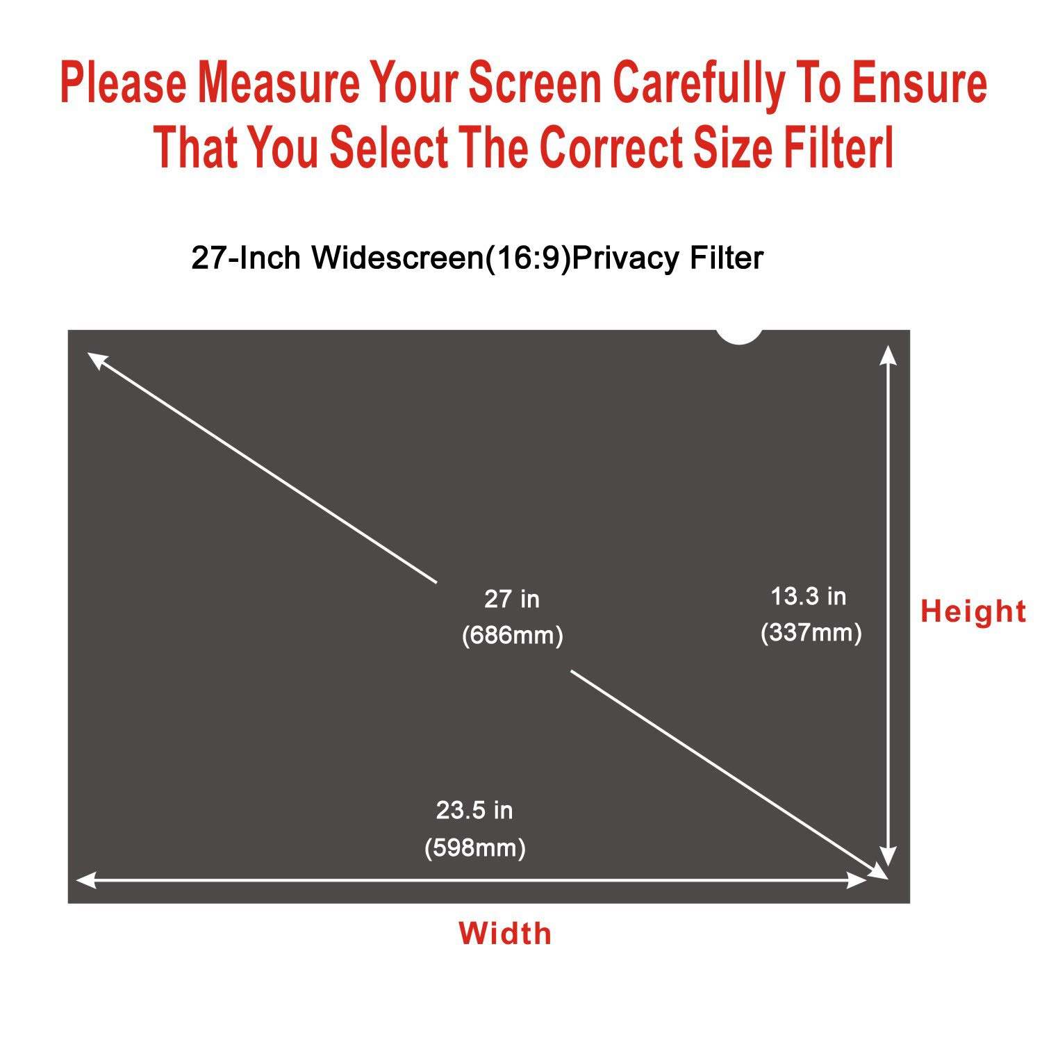 16:10 Accgonon Computer Privacy Screen Filters for 27-inch Widescreen Monitor Privacy Screen Protector,Anti-Glare Anti-Spy Anti-Blue Scratch and UV Protection,Easy Install