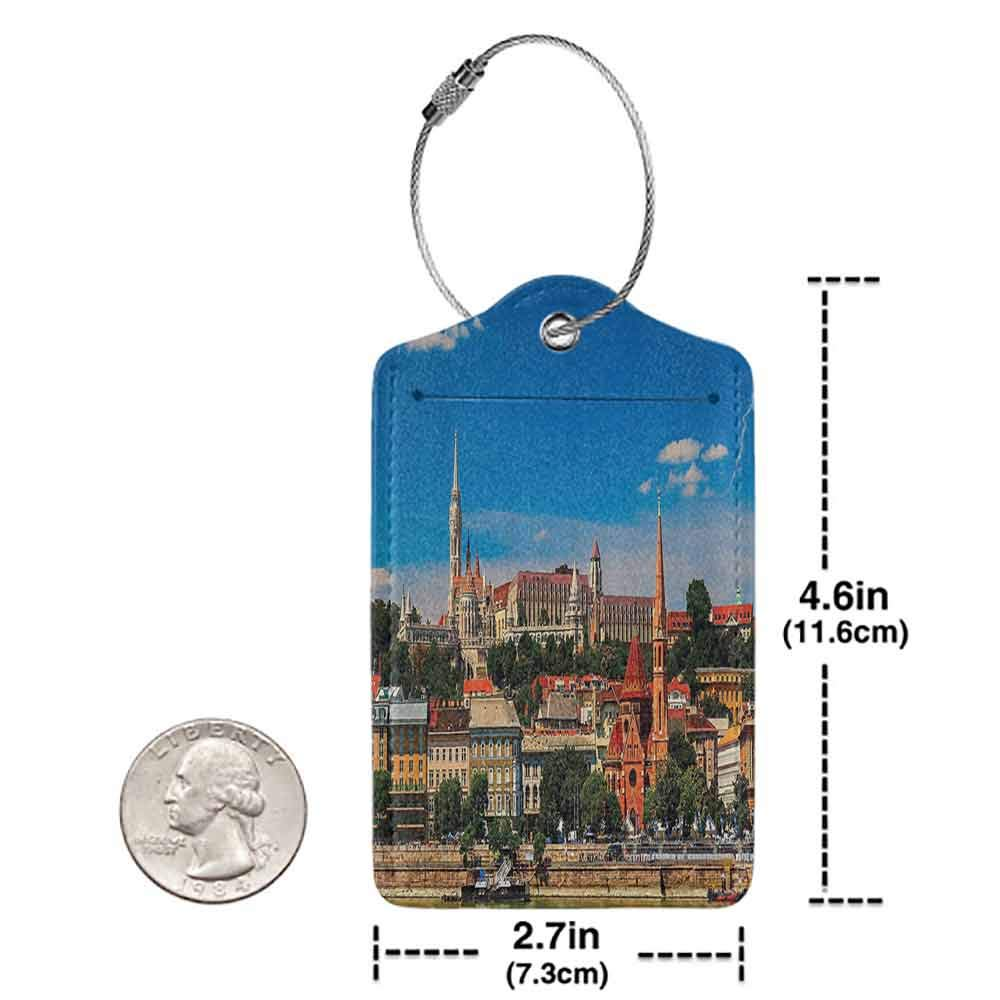 Multi-patterned luggage tag Wanderlust Decor Collection Budapest Hungary Exterior Europe Dome Architecture by River Landmark Picture Double-sided printing Orange Yellow Blue W2.7 x L4.6