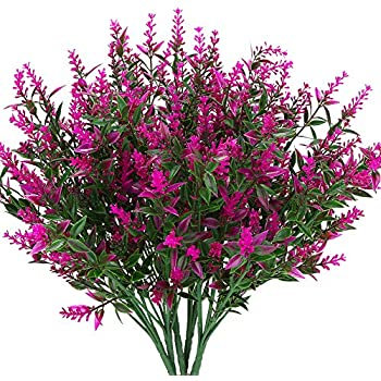 KLEMOO Artificial Lavender Flowers Plants 6 Pieces, Lifelike UV Resistant Fake Shrubs Greenery Bushes Bouquet to Brighten up Your Home Kitchen Garden Indoor Outdoor Decor(Fushia)