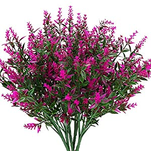 KLEMOO Artificial Lavender Flowers Plants 6 Pieces, Lifelike UV Resistant Fake Shrubs Greenery Bushes Bouquet to Brighten up Your Home Kitchen Garden Indoor Outdoor Decor(Fushia) 45