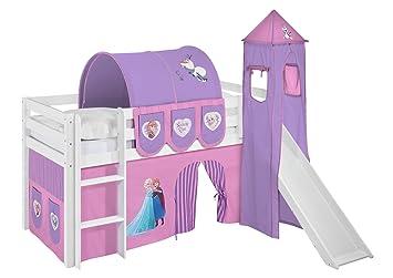 Etagenbett Hochbett Spielbett Kinderbett Jelle 90x200cm Vorhang : Lilokids spielbett jelle eiskönigin hochbett mit turm rutsche und