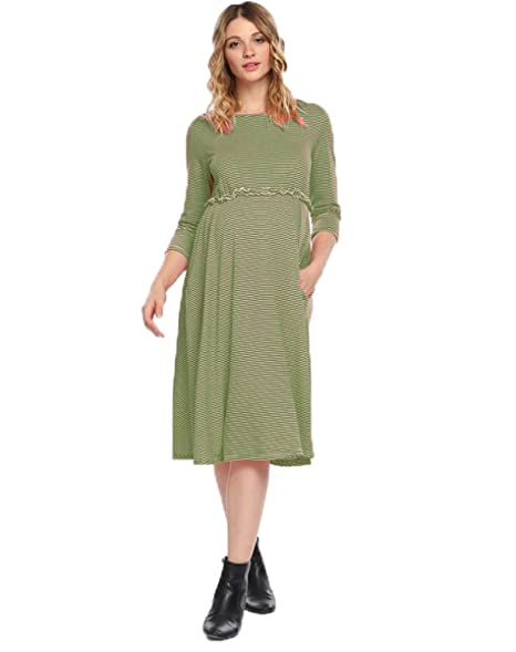 b7096df8fec0 Halife Women's Maternity Knee Length Three Quarter Sleeve Dress Army Green,  XL at Amazon Women's Clothing store: