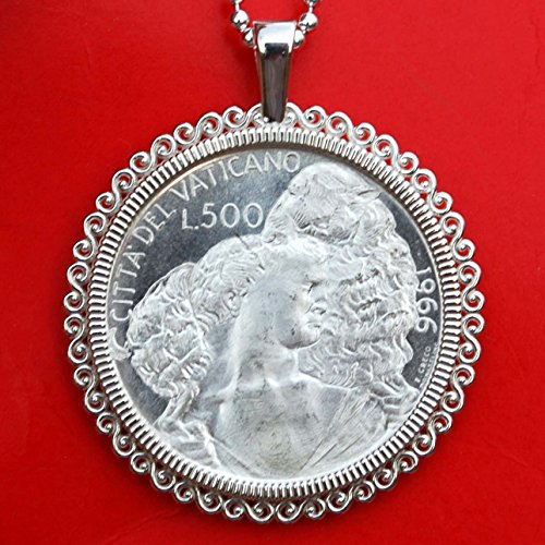 1966 Vatican 500 Lire BU Uncirculated 83.5% Silver Coin 925 Sterling Silver Necklace NEW - Shepard with Sheep on Shoulders