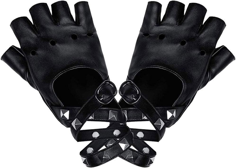 LYTIVAGEN Guantes Punk en PU Guantes Remache Medio Dedo con Remaches Guantes de Dedos para Disfraces de Halloween, Hip Hop, Actuaciones, Fiestas (Negro)