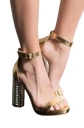 668bef6f5498 Amazon.com  AZALEA WANG Metallic Ankle Buckle One Strap Jewel Encrusted  Chunky Heel Sandals  Clothing