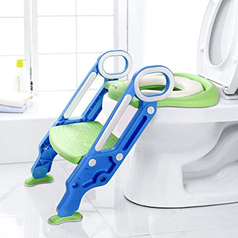 Dalmo DBPW01L - Reductor WC para niños, color azul, asiento de inodoro para niños con escalera de