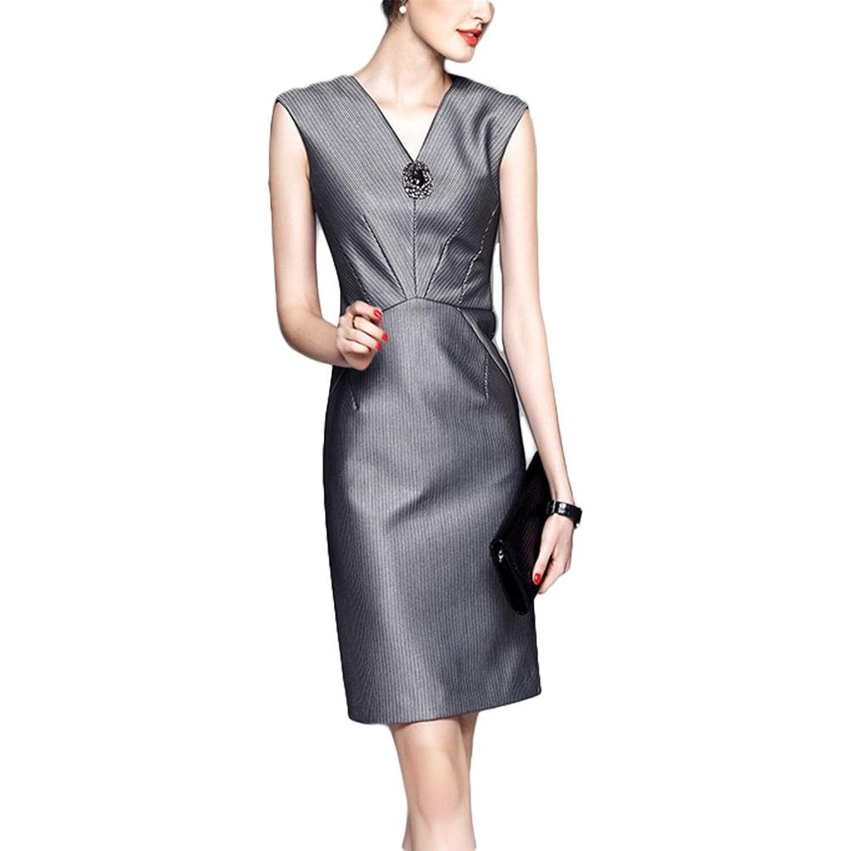 Modisches elegantes Kleid ärmelloses V-Ausschnitt gestreiftes Kleid - Streifen