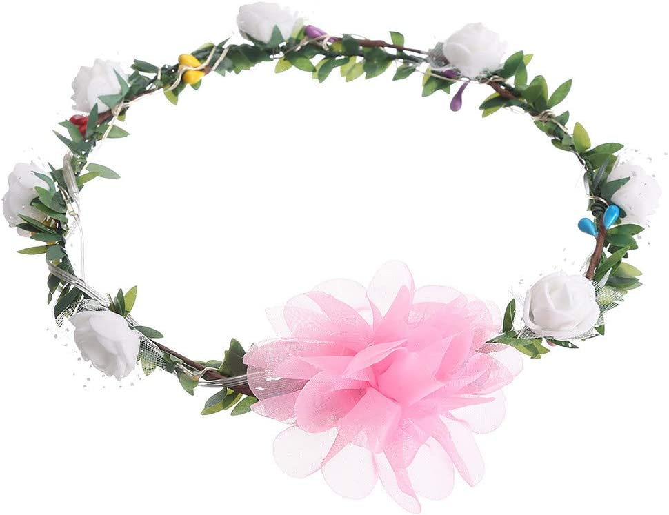 Mlide - Diadema de Guirnalda, diseño de Flores, para Boda, con decoración LED: Amazon.es: Hogar