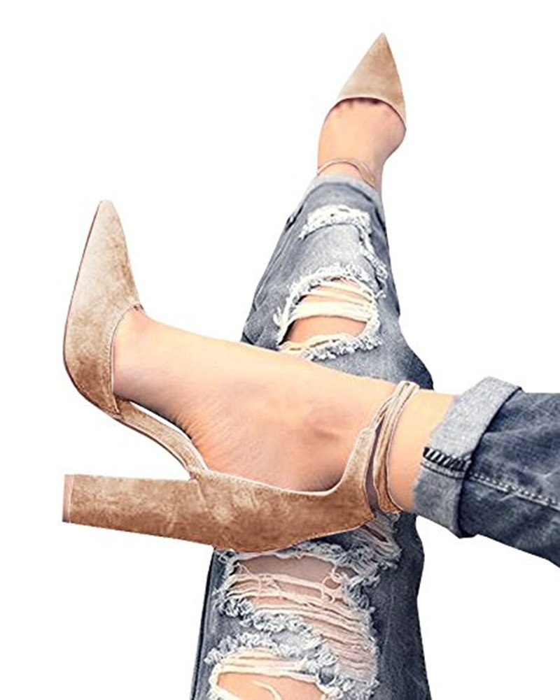Huiyuzhi Womens Chunky Ankle Strappy Sandal Pointed Toe High Heels Khaki 7.5 B(M) US