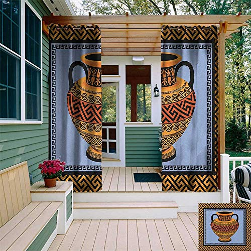 (leinuoyi Greek Key, Sun Zero Outdoor Curtains, Frame with Traditional Vintage Square Ornament Meander and Amphora, Outdoor Curtain Set for Patio Waterproof W96 x L96 Inch Orange Lavender Black)
