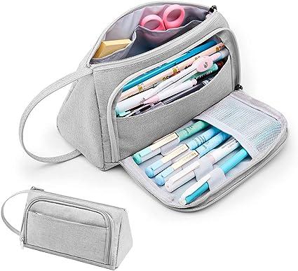 Estuche para lápices de Kalidi, gran capacidad, bolsa para lápices de escuela, papelería, maquillaje con asa para estudiantes, universidad, suministros de escuela media y oficina (Gris): Amazon.es: Oficina y papelería