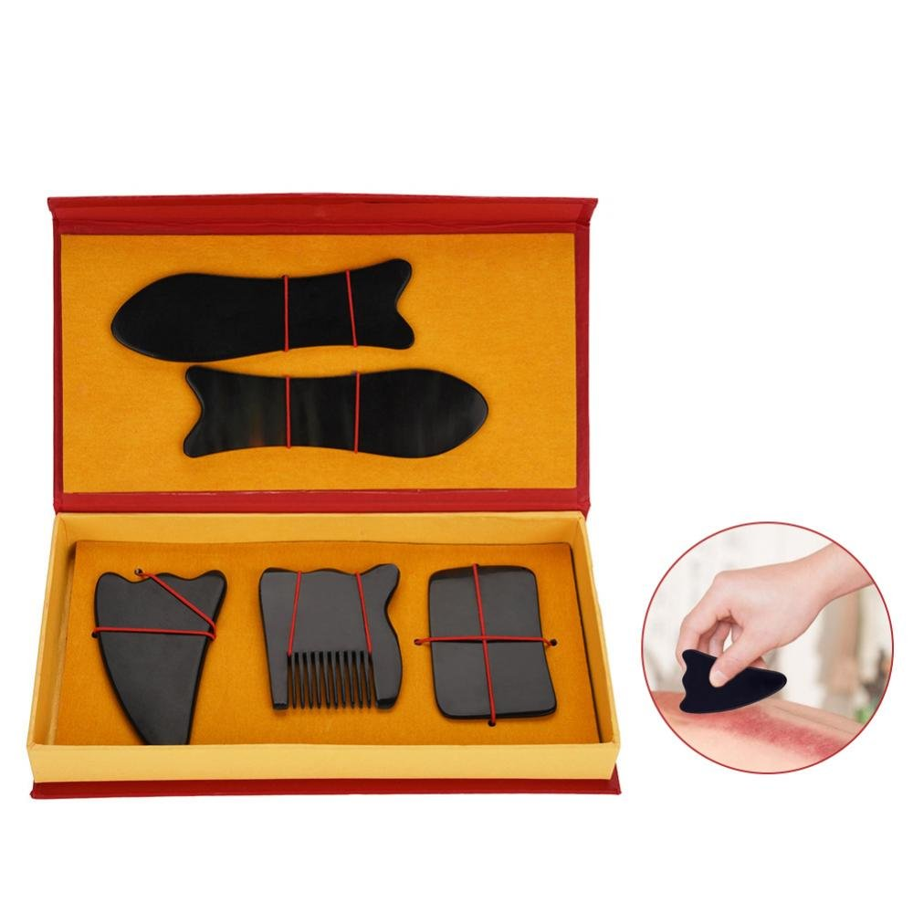Gua Sha Scraping Massage Tool, Chinese Hand Made Board for Facial, Ankle, Neck Massage Tools Kit Filfeel