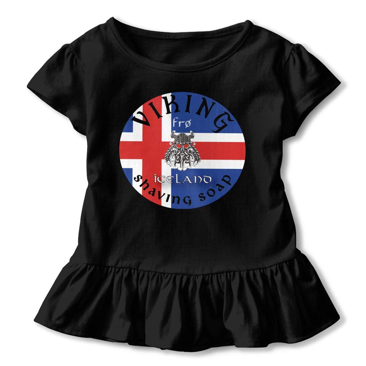 Viking Fr/ø Shaving Soap Shirt Fashion Kids Flounced T Shirts Basic Shirt for 2-6T Kids Girls