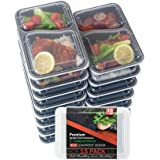 Food Storage Container 15-PACK Meal Prep Container Leak proof Lunch Containers Meal Prep Container Bento Box Container Airtight Lid Dishwasher Microwave SAFE Plastic Food Container 2 Compartments 30oz